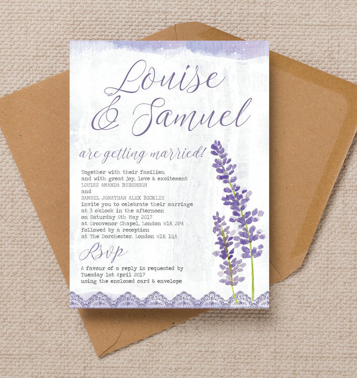 Well known Lilac & Lavender Wedding Invitation from £1.00 each RA98