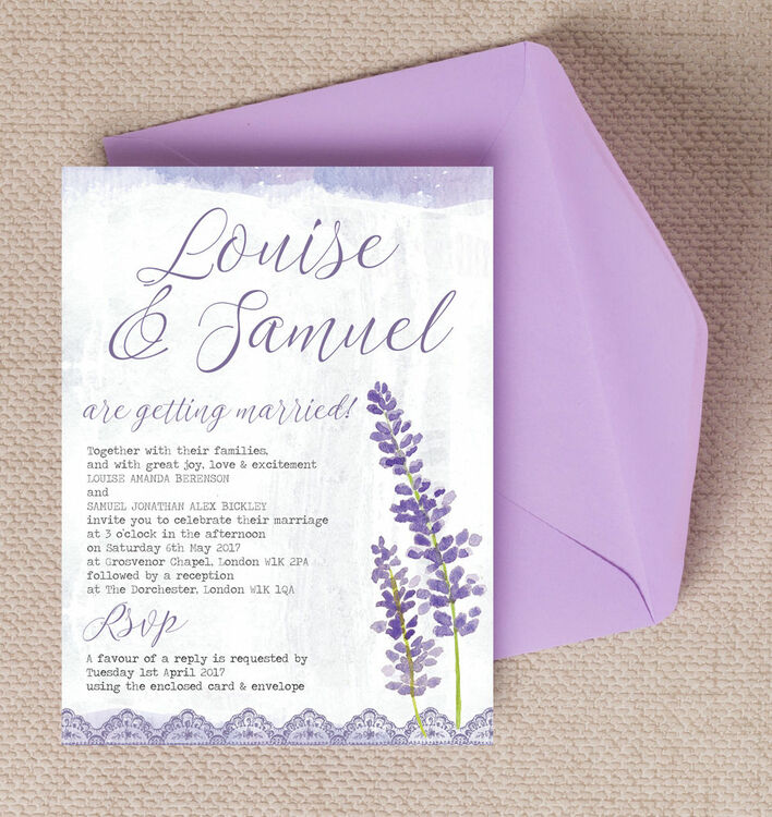Lilac & Lavender Wedding Invitation from £1.00 each
