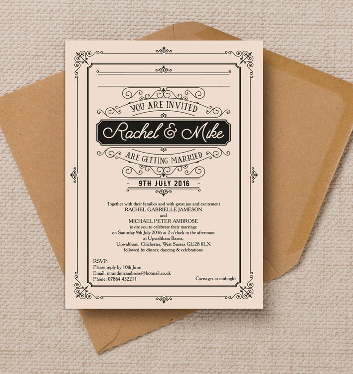 Elegant Vintage Wedding Invitation from £1.00 each