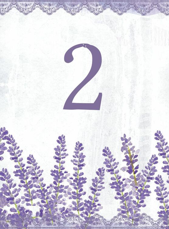 graphic about Printable Number Cards named Lilac Lavender Marriage Desk Range Card