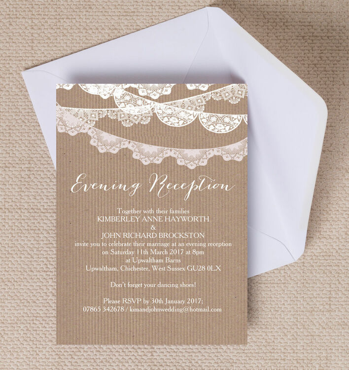 rustic lace bunting evening reception invitation from 0 85 each