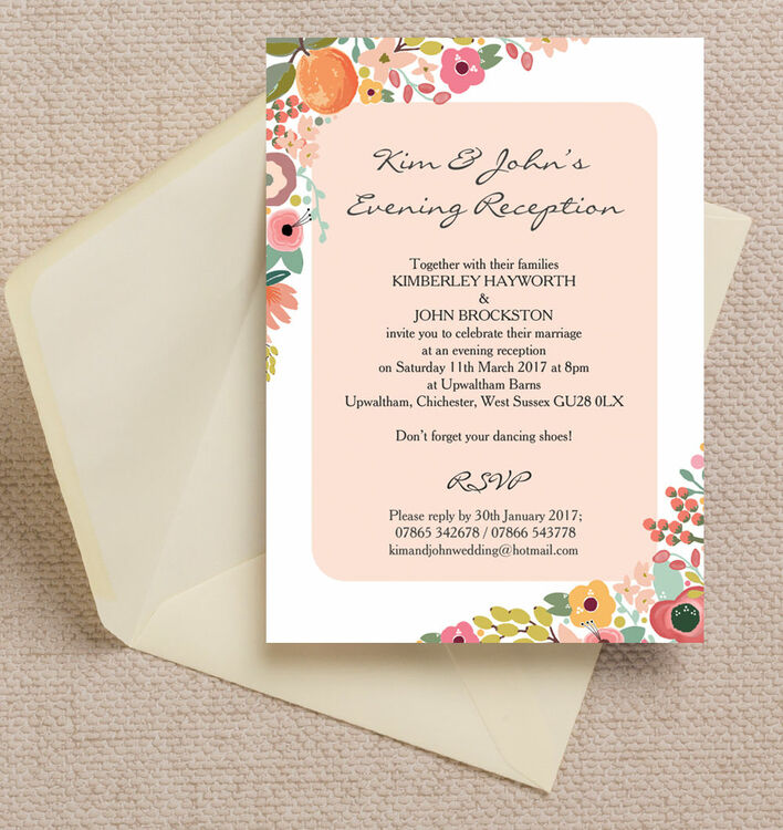 Delighted wedding evening reception invitation wording contemporary elegant floral evening reception invitation from 085 each stopboris Choice Image