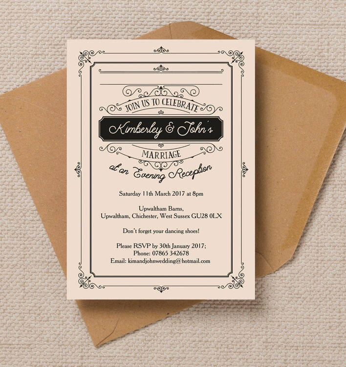Elegant Vintage Evening Reception Invitation from £0.85 each