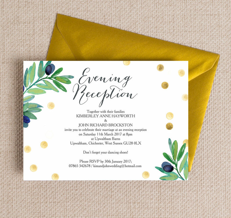 Olive Wreath Evening Reception Invitation from £0.85 each