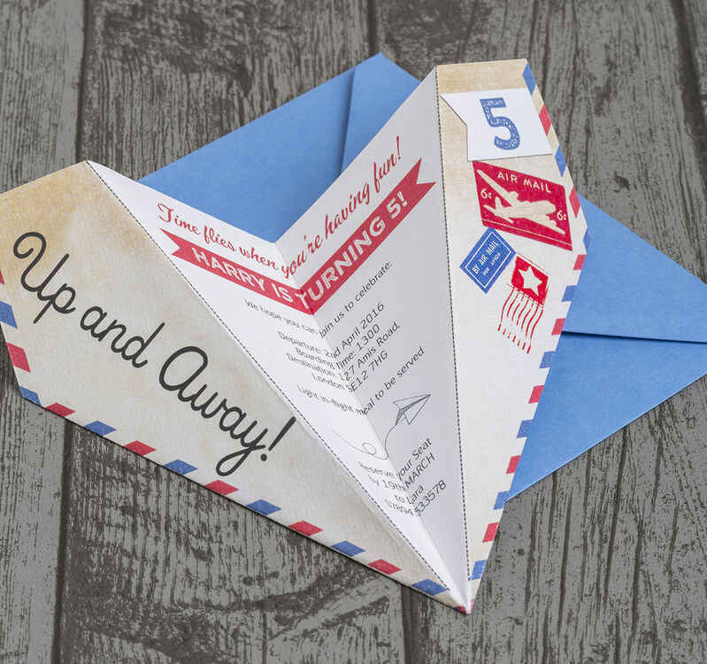 paper airplane birthday party invitation from 0 80 each
