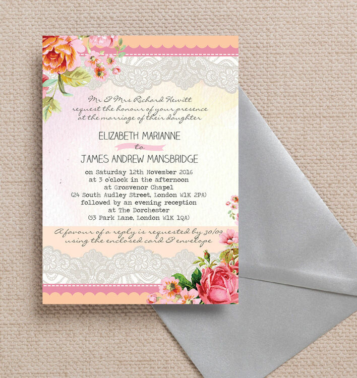 Pastel Watercolour Wedding Invitation from £1.00 each