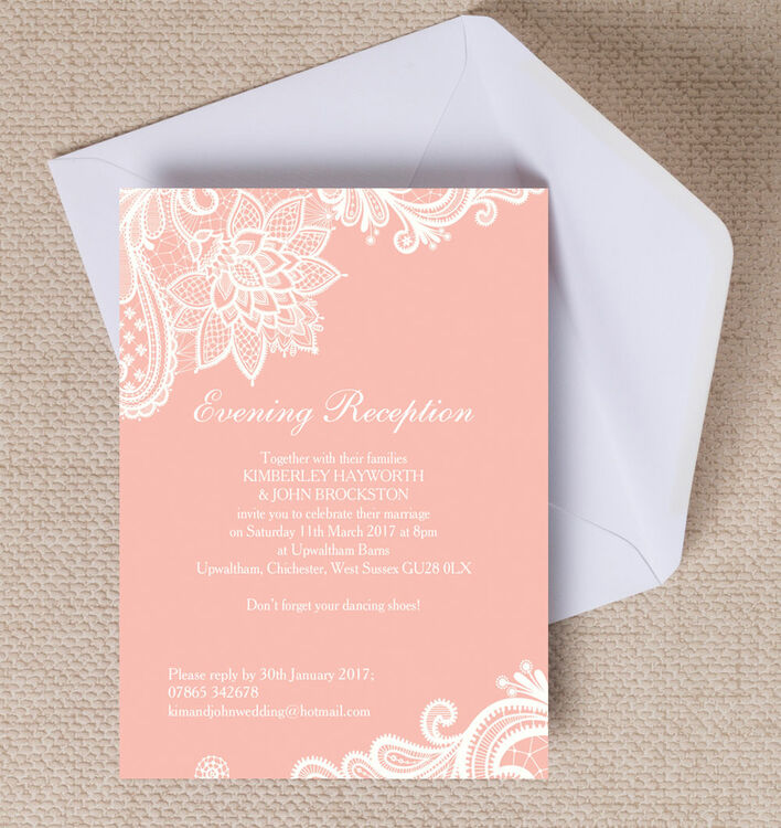 wedding invitation printing lace evening reception invitation from 163 0 85 each 9722
