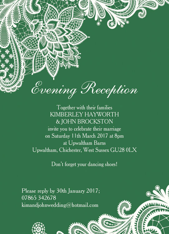romantic lace evening reception invitation from  u00a30 85 each