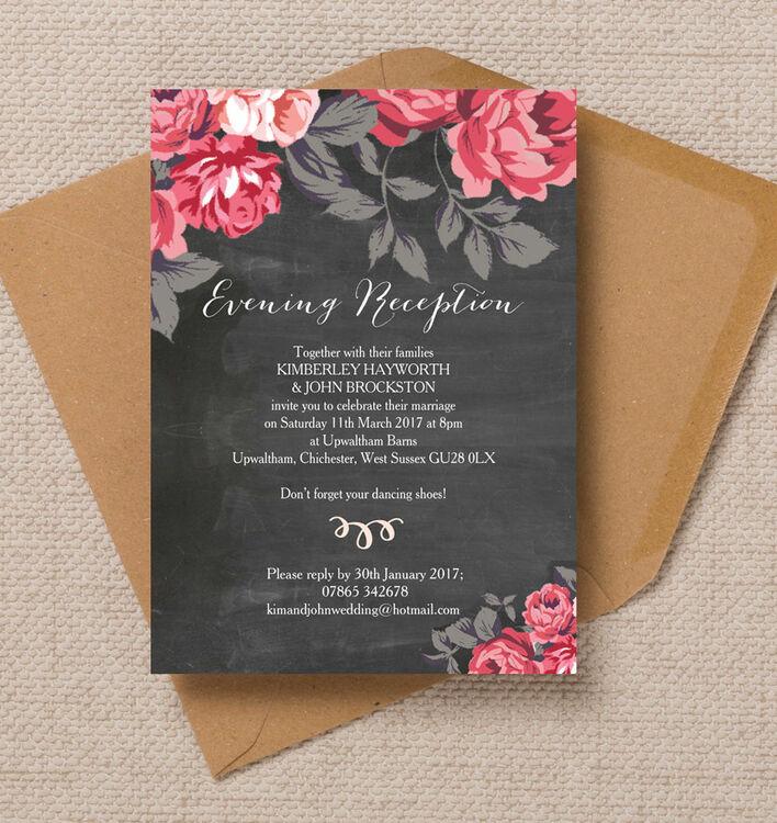 Rustic Floral Evening Reception Invitation Additional 1 2