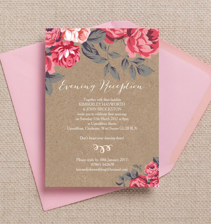 Rustic Floral Evening Reception Invitation from £0.85 each