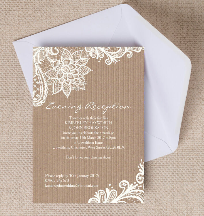 Rustic Lace Evening Reception Invitation From 085 Each