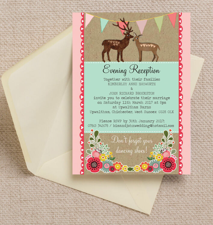 Rustic Woodland Evening Reception Invitation from £0.85 each