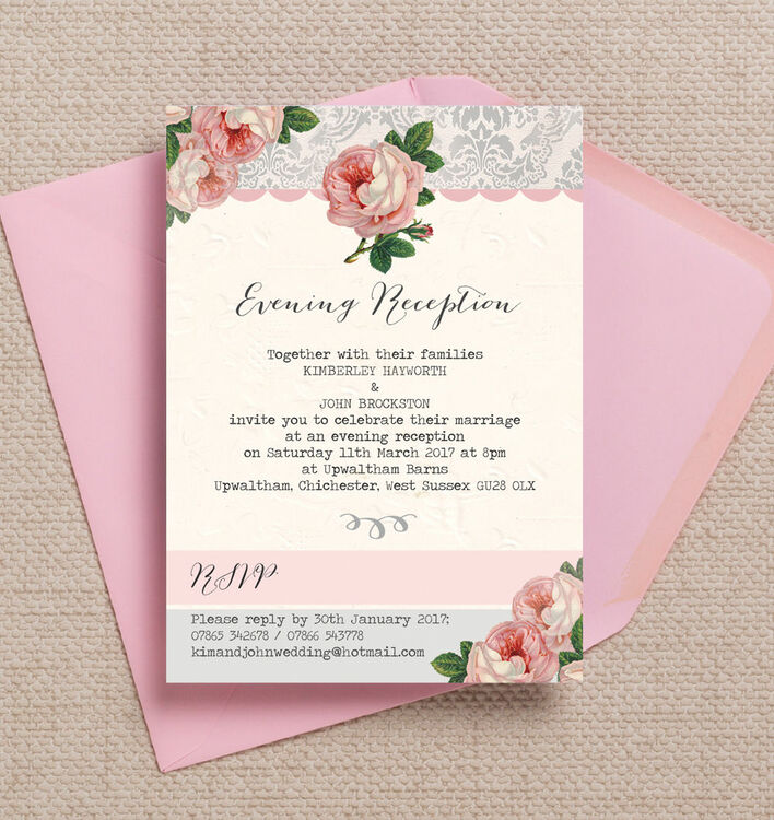 Sweet Vintage Evening Reception Invitation from £0.85 each