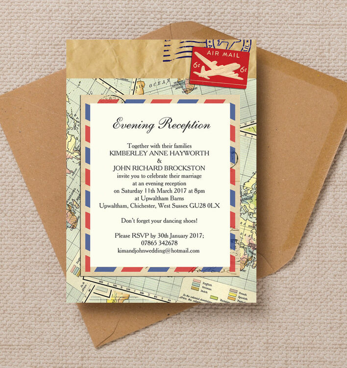 Airmail Wedding Invitations: Vintage Airmail Plane Themed Evening Reception Invitation