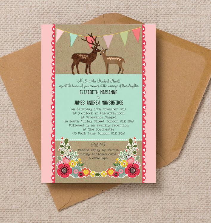 Rustic Woodland Wedding Invitation from £1.00 each