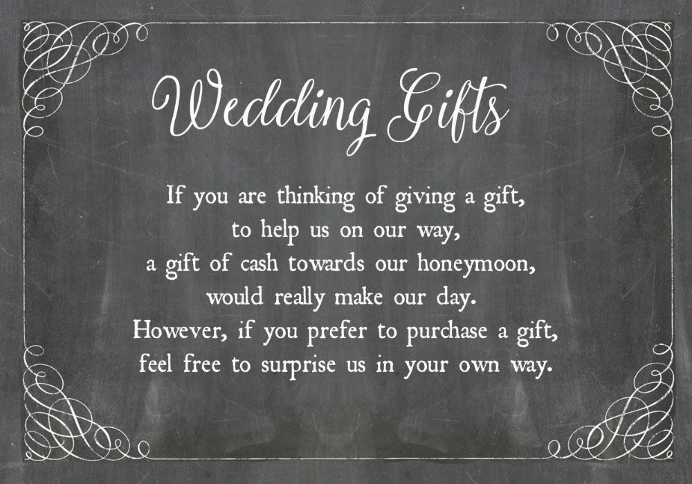 Wedding Invitation Wording Money Instead Of Gifts: Chalkboard Wedding Gift Wish Card From £0.40 Each