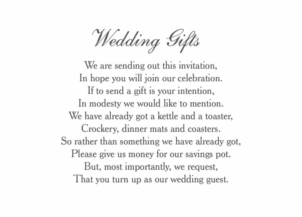 Wedding Gift Poems For Money: Classic Wedding Gift Wish Card From £0.40 Each