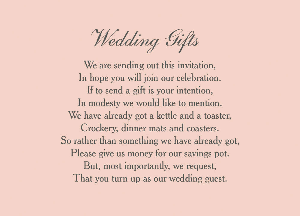 Wedding Gift Money Wording: Classic Wedding Gift Wish Card From £0.40 Each