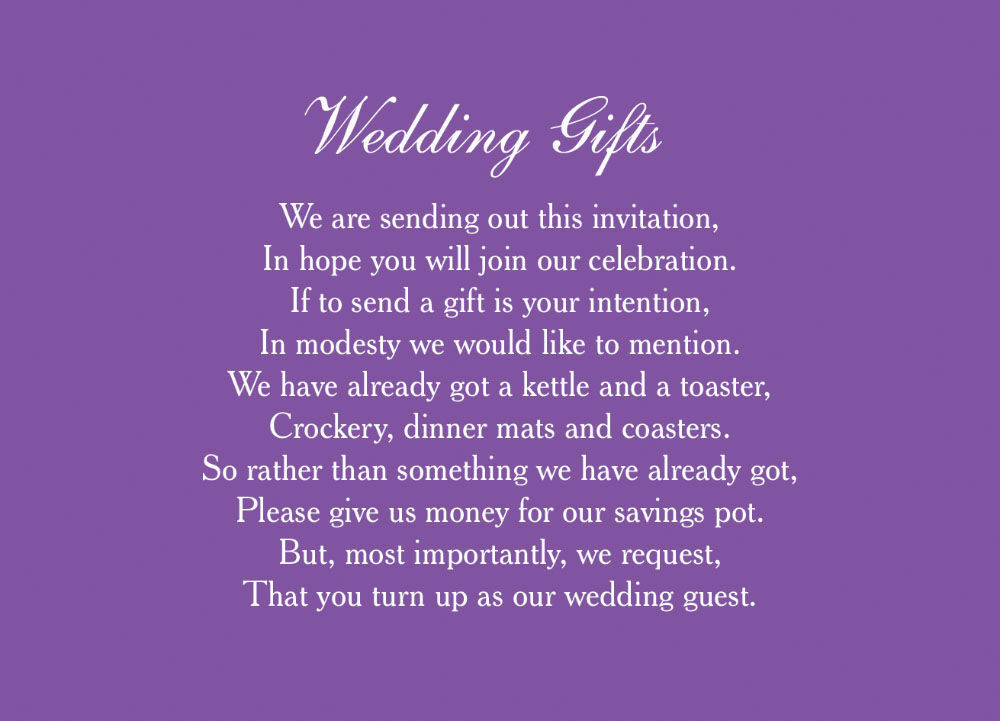 Classic Wedding Gift Wish Card From 040 Each