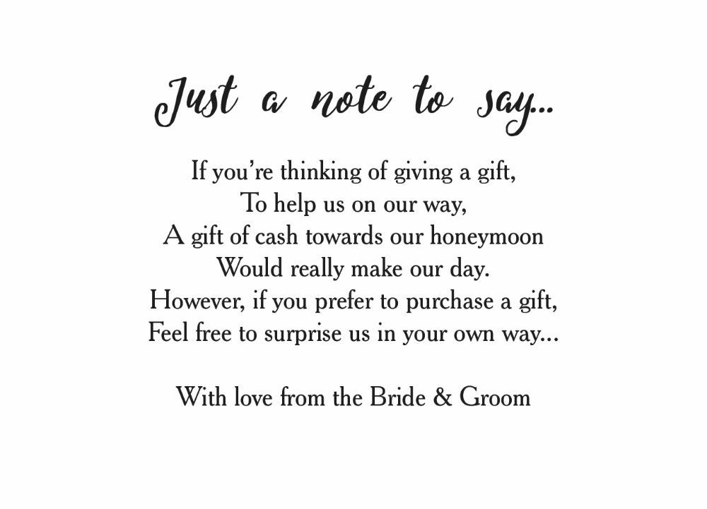 Wedding Gift Wording For Honeymoon: Calligraphy Wedding Gift Wish Card From £0.40 Each