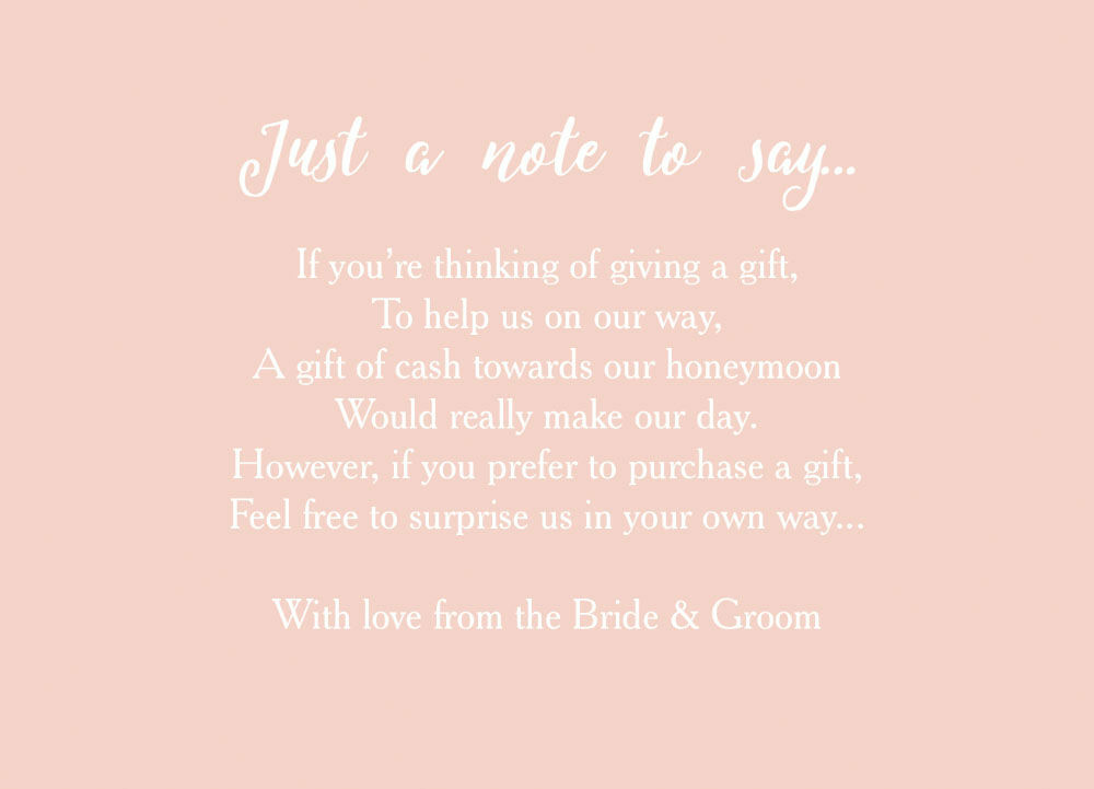 Wedding Gift Money Wording: Calligraphy Wedding Gift Wish Card From £0.40 Each