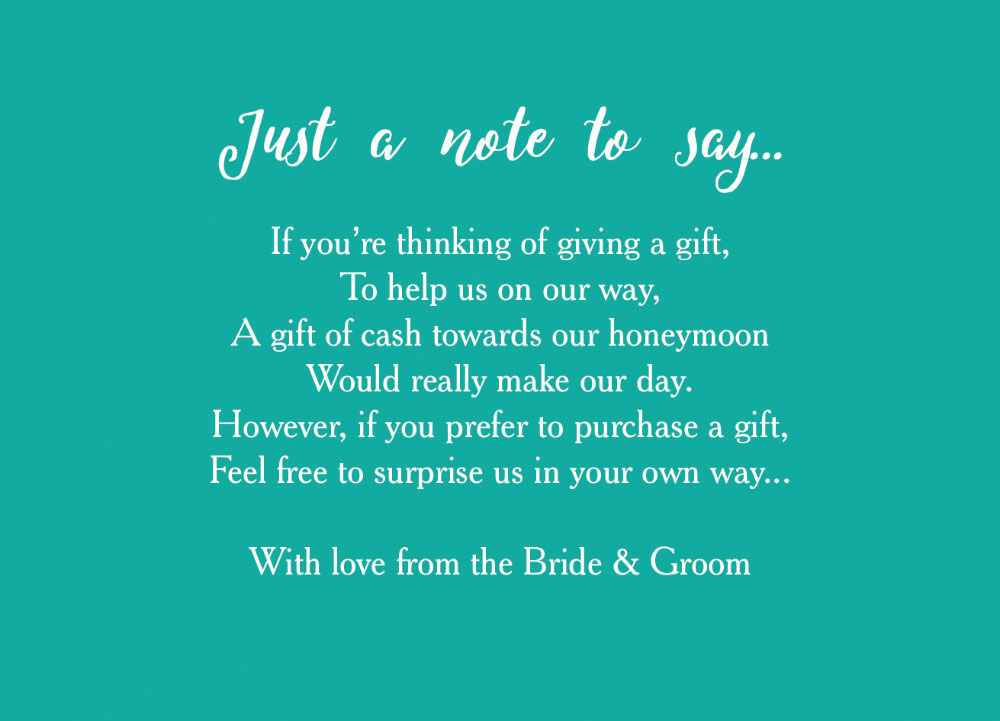 Calligraphy Wedding Gift Wish Card From 040 Each