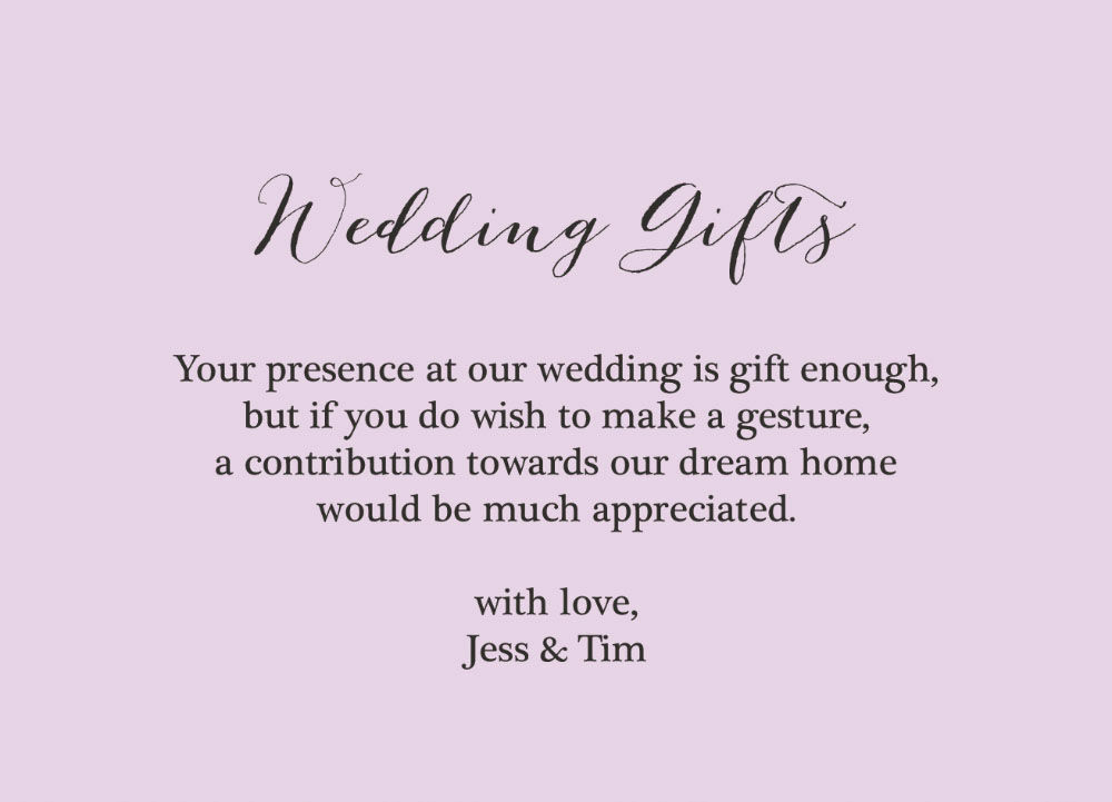 Wedding Invite Gift Poem: Rustic Wedding Gift Wish Card From £0.40 Each