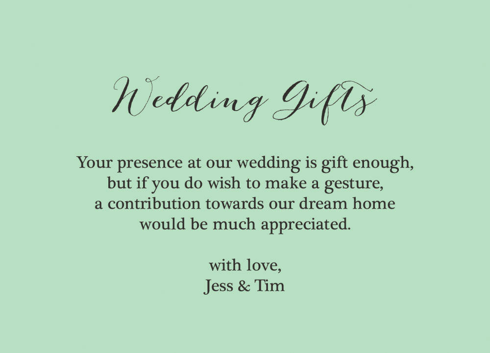 Wedding Gift Poems: Rustic Wedding Gift Wish Card From £0.40 Each