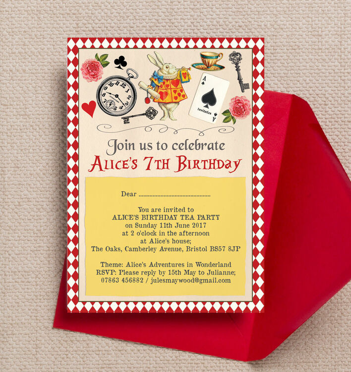 Alice In Wonderland Kids Party Invites Stationery