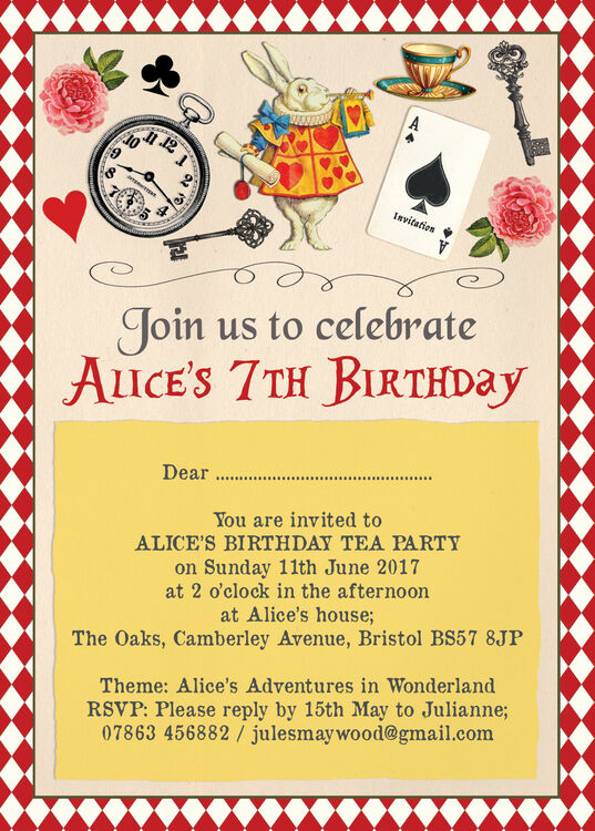 Alice in Wonderland Party Invitation from 080 each