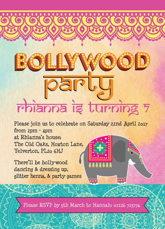 bollywood children u0026 39 s party invitation from  u00a30 80 each