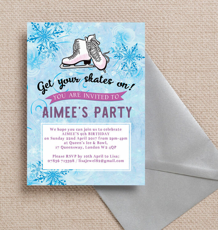 Ice Skating Birthday Party Invitation from £0.80 each