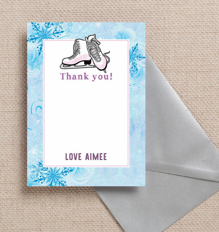 ice skating personalised thank you card from £075 each