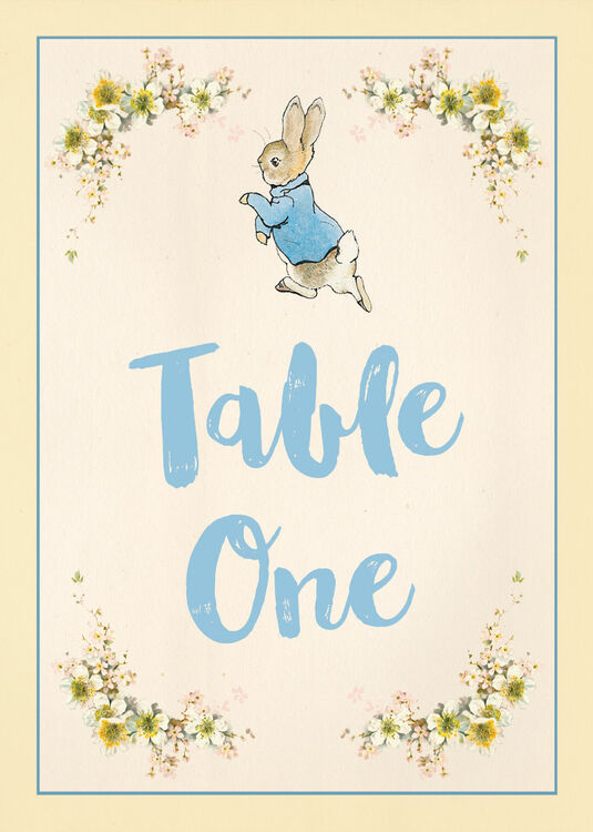photograph relating to Table Number Printable named Beatrix Potter Peter Rabbit Social gathering Desk Range