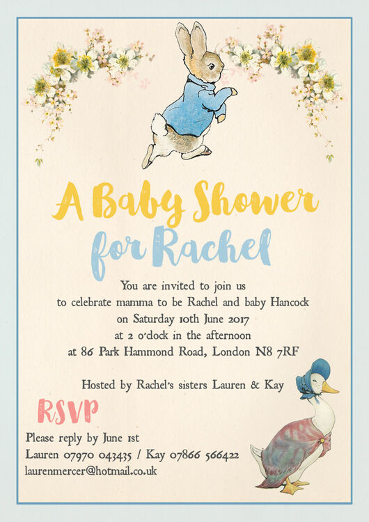 Peter Rabbit Jemima Puddle Duck Baby Shower Invitation From 0 80 Each