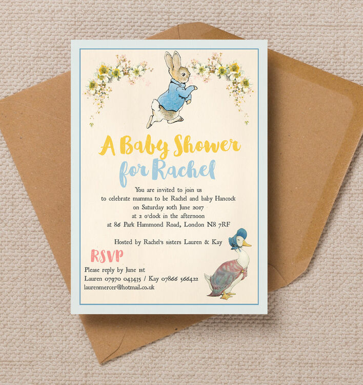 Peter Rabbit & Jemima Baby Shower Invitation From £.0.80 each