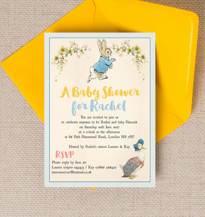 Peter Rabbit & Jemima Puddle Duck Baby Shower Invitation from £0.80 each