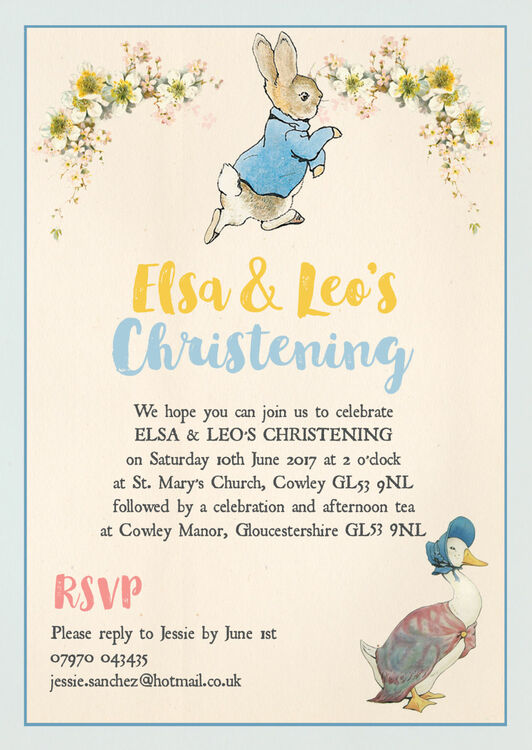 Peter Rabbit Jemima Puddle Duck Christening Baptism Invitation