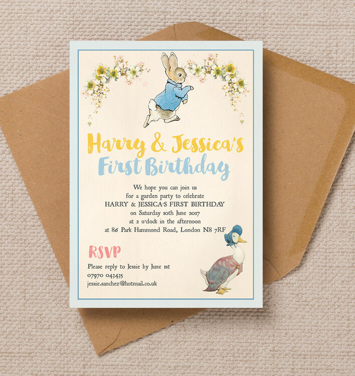 Peter Rabbit Jemima Puddle Duck Party Invitation From 0 80 Each