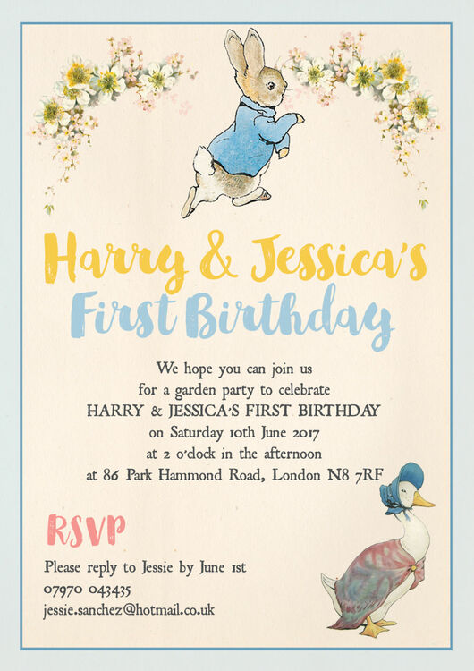 Peter rabbit jemima puddle duck party invitation from 080 each peter rabbit jemima puddle duck party invitation additional 4 filmwisefo