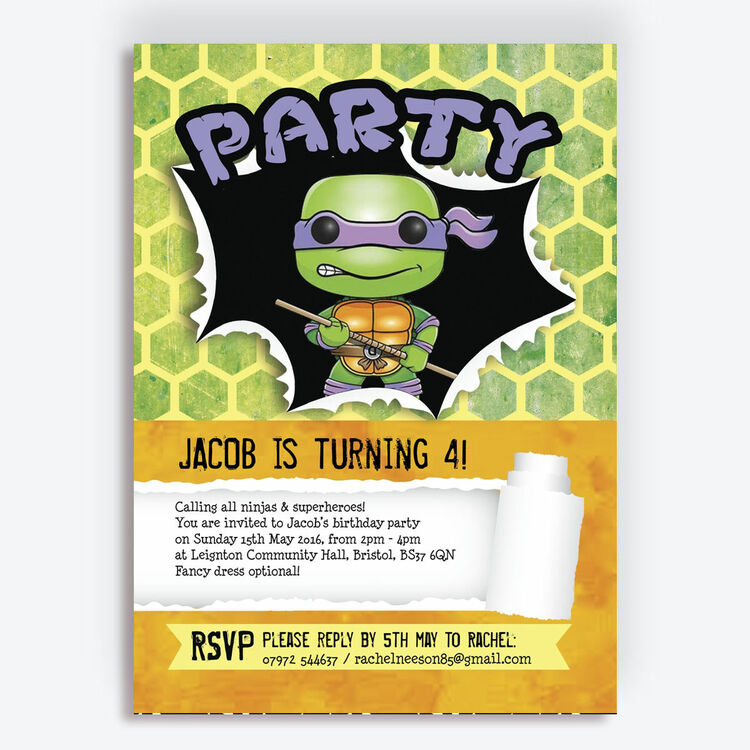 Turtle Superhero Birthday Party Invitation Additional 1