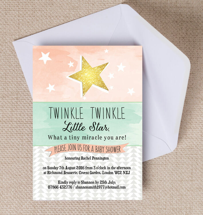 Twinkle Star Baby Shower Invitation from £0.80 each