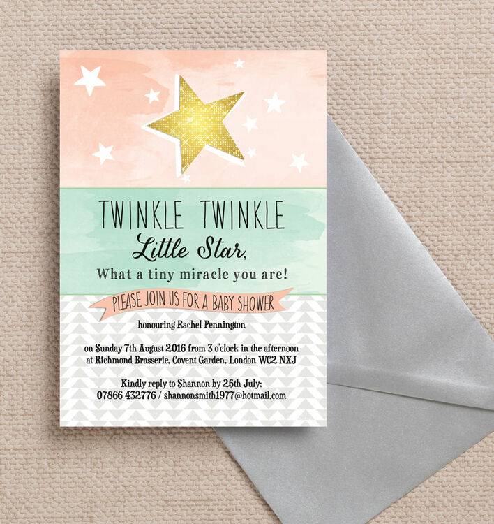 Twinkle Star Baby Shower Invitation