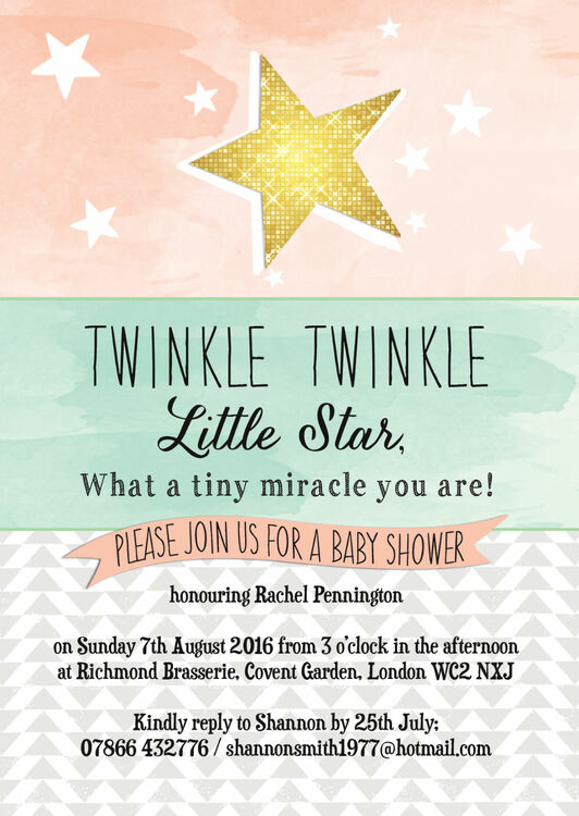 Twinkle Star Baby Shower Invitation from 080 each