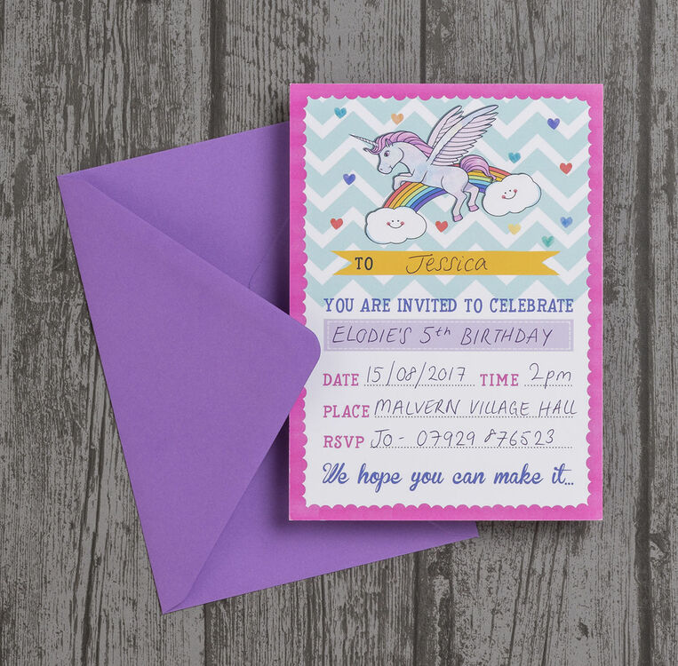 Pack Of 10 Rainbow Unicorn Party Invitations Additional 1