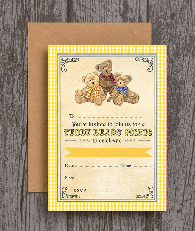 pack of 10 teddy bears picnic party invitations from 6 99 each