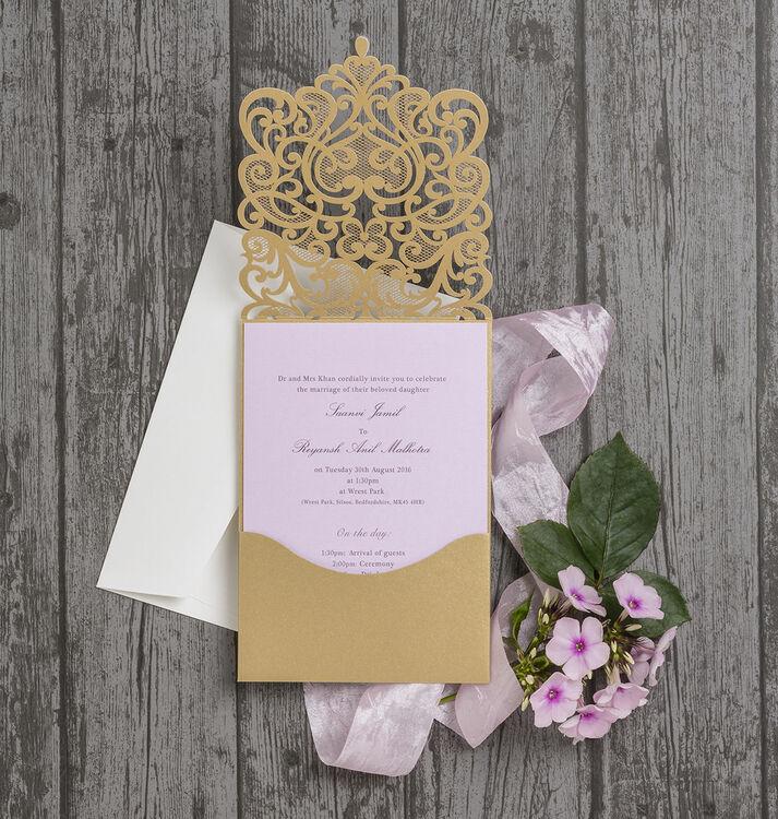 Gold Diamante Laser Cut Pocketfold Personalised Wedding Invitation ...