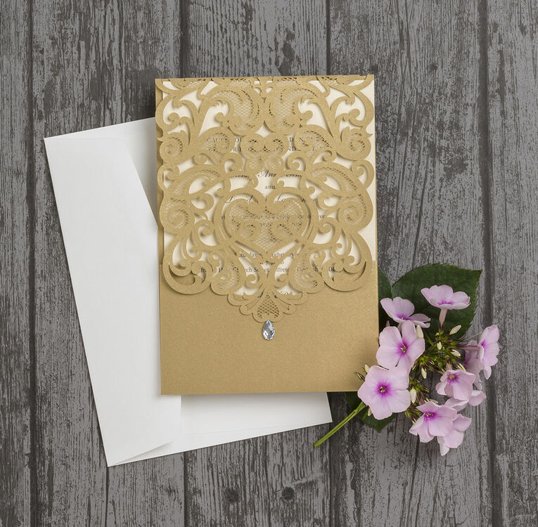 Gold Diamante Laser Cut Pocketfold Personalised Wedding Invitation ...