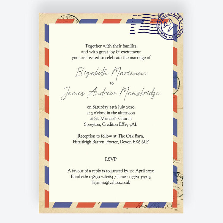 Airmail Wedding Invitations: Vintage Airmail Wedding Invitation From £1.00 Each