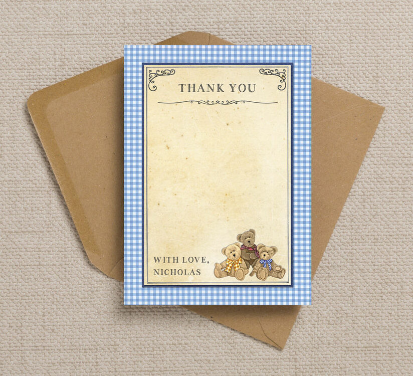 Green Boys Teddy Bear Picnic Party Thank You Cards